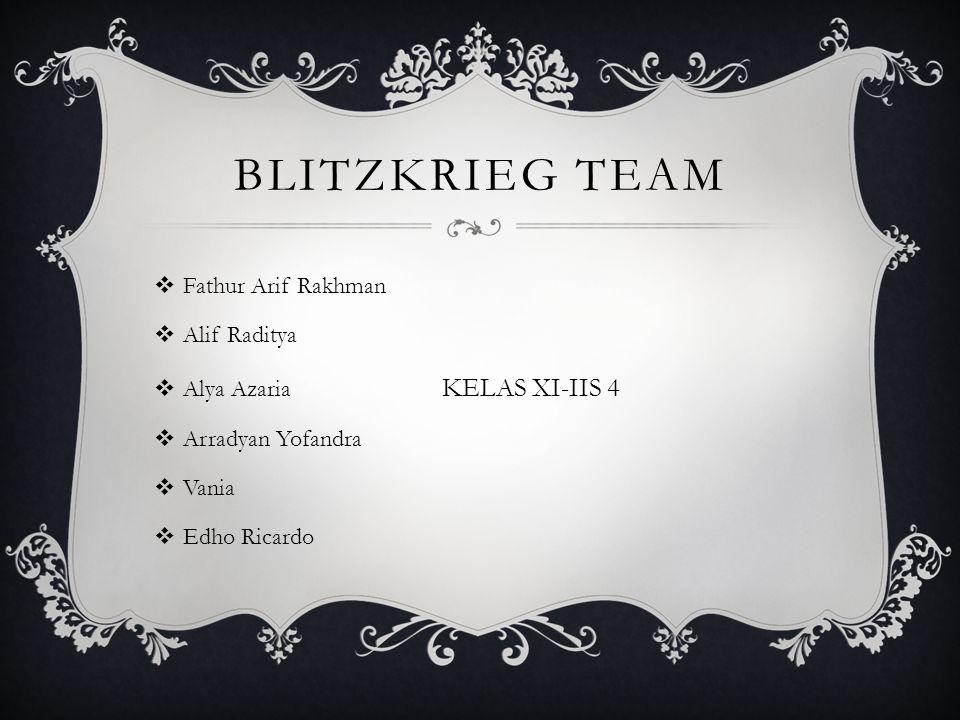Blitzkrieg team Fathur Arif Rakhman Alif Raditya