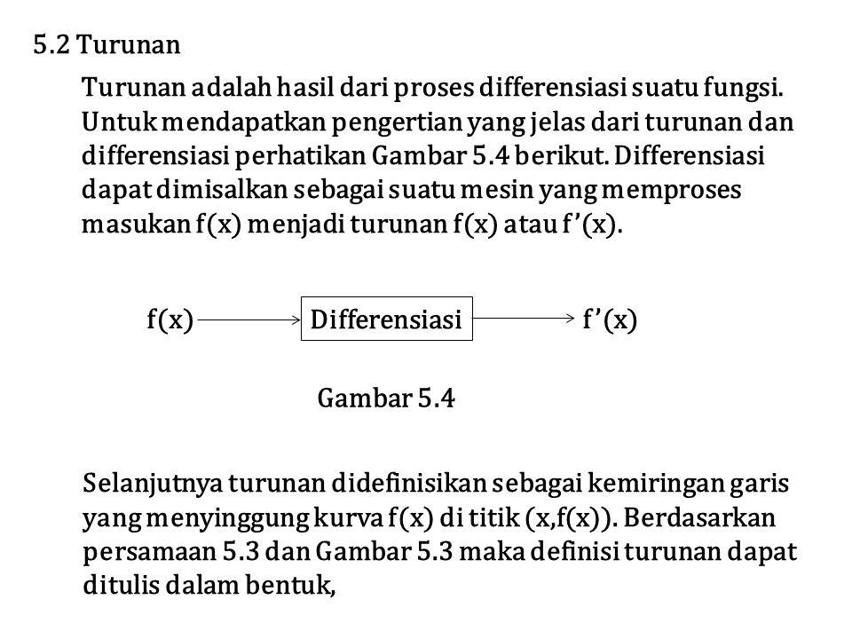 5.2 Turunan Turunan adalah hasil dari proses differensiasi suatu fungsi. Untuk mendapatkan pengertian yang jelas dari turunan dan.