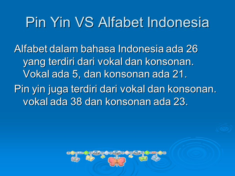 Pin Yin VS Alfabet Indonesia