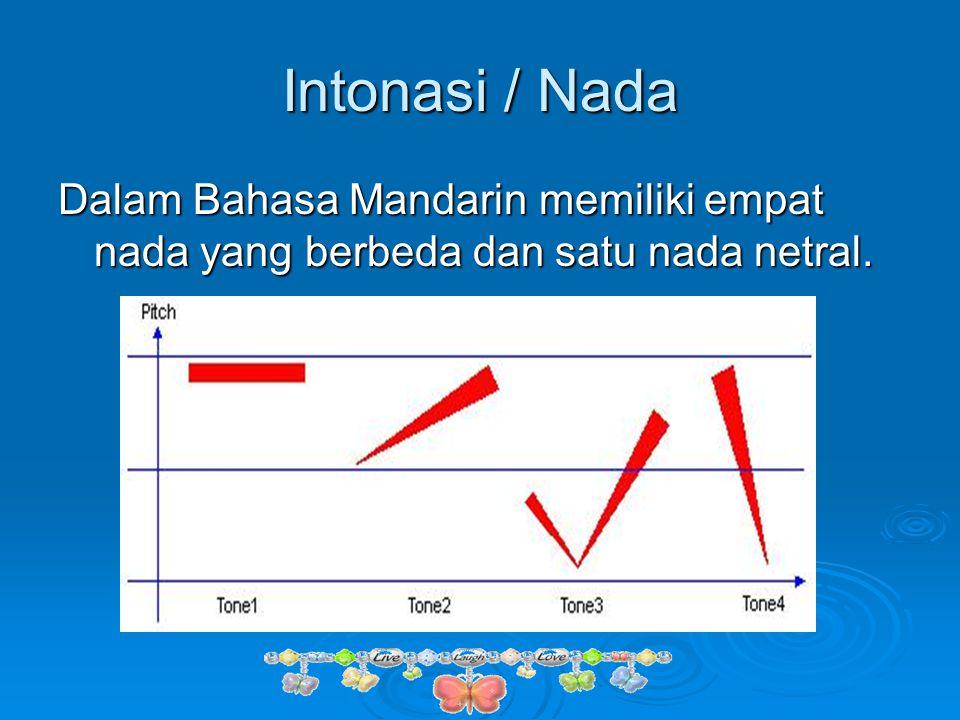 Intonasi / Nada Dalam Bahasa Mandarin memiliki empat nada yang berbeda dan satu nada netral.