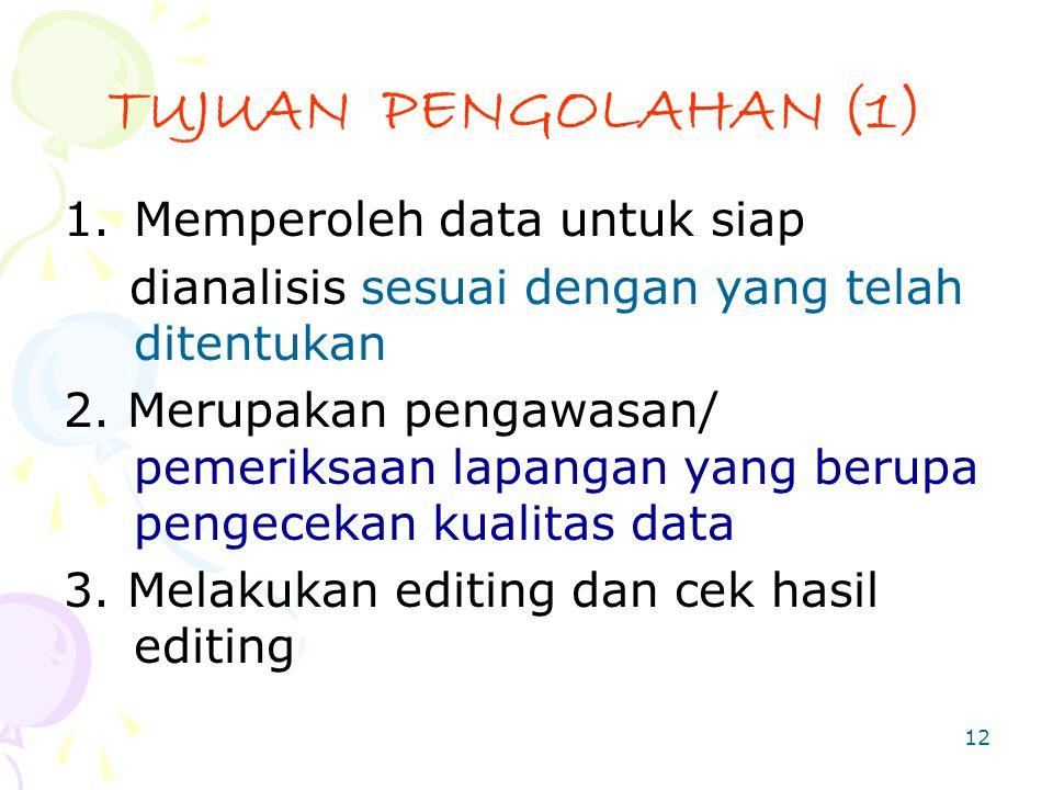 TUJUAN PENGOLAHAN (1) Memperoleh data untuk siap