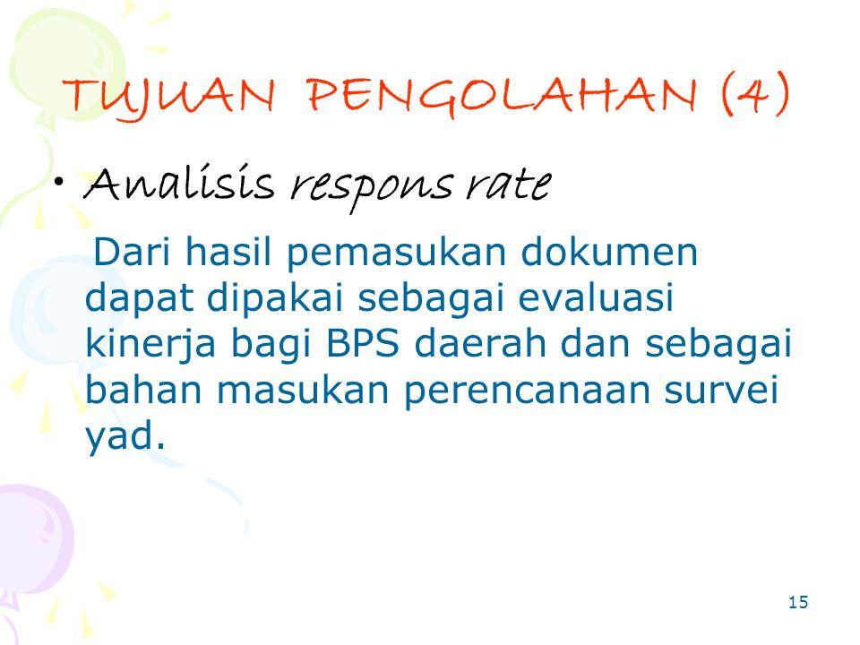 TUJUAN PENGOLAHAN (4) Analisis respons rate