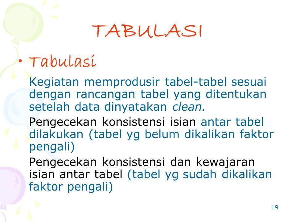 TABULASI Tabulasi. Kegiatan memprodusir tabel-tabel sesuai dengan rancangan tabel yang ditentukan setelah data dinyatakan clean.