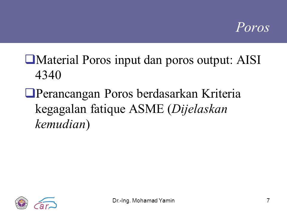 Poros Material Poros input dan poros output: AISI 4340