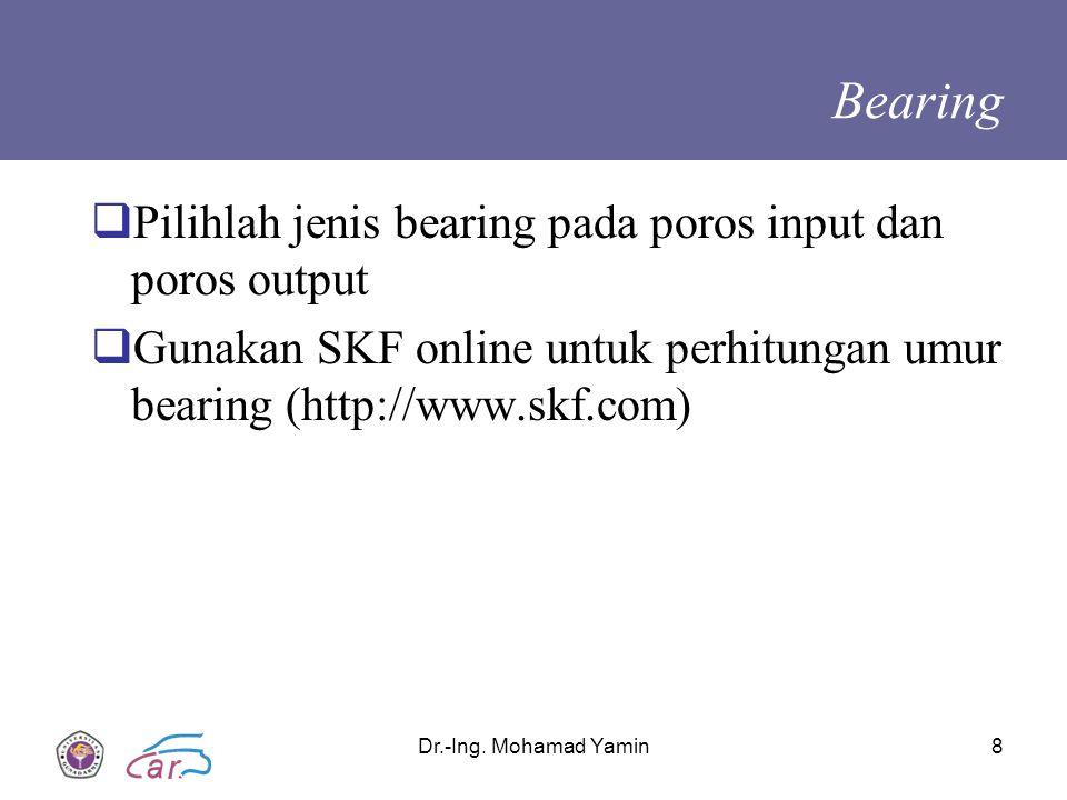 Bearing Pilihlah jenis bearing pada poros input dan poros output