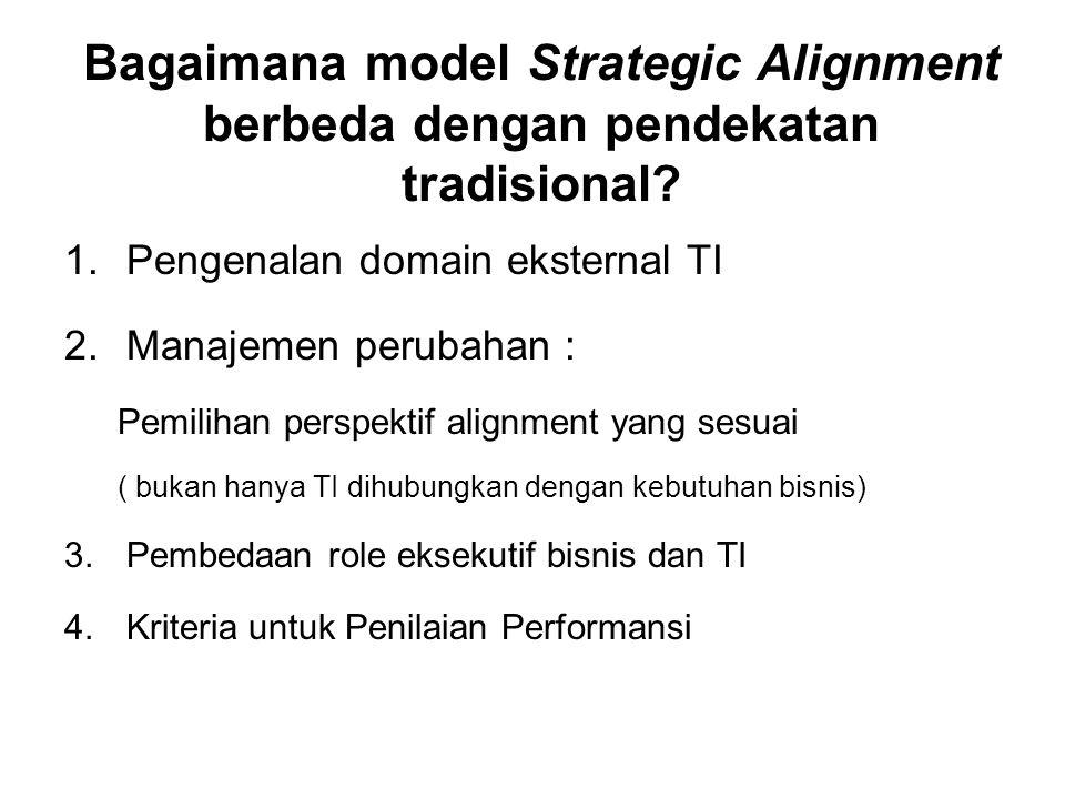 Bagaimana model Strategic Alignment berbeda dengan pendekatan tradisional