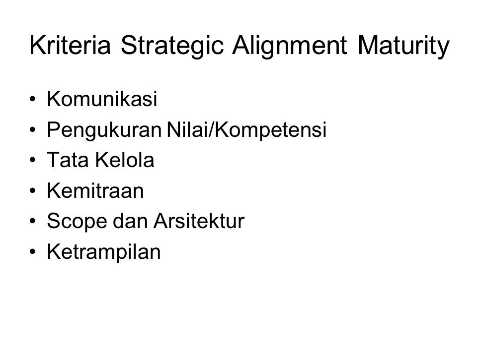 Kriteria Strategic Alignment Maturity