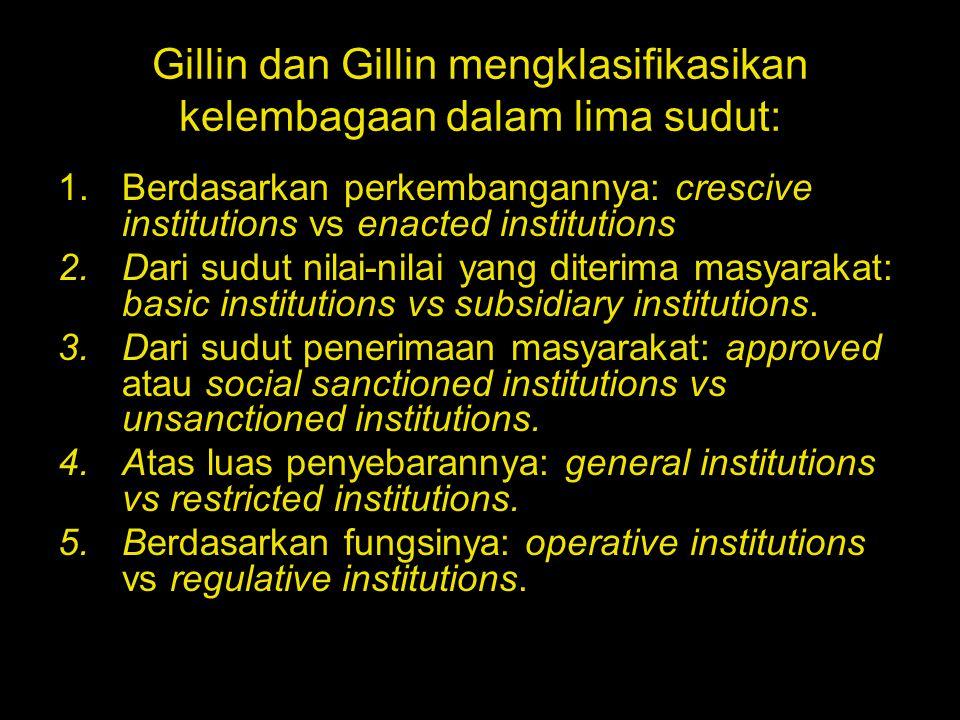Gillin dan Gillin mengklasifikasikan kelembagaan dalam lima sudut: