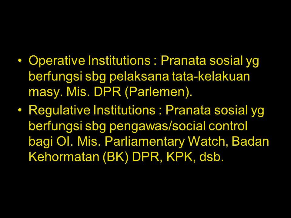 Operative Institutions : Pranata sosial yg berfungsi sbg pelaksana tata-kelakuan masy. Mis. DPR (Parlemen).