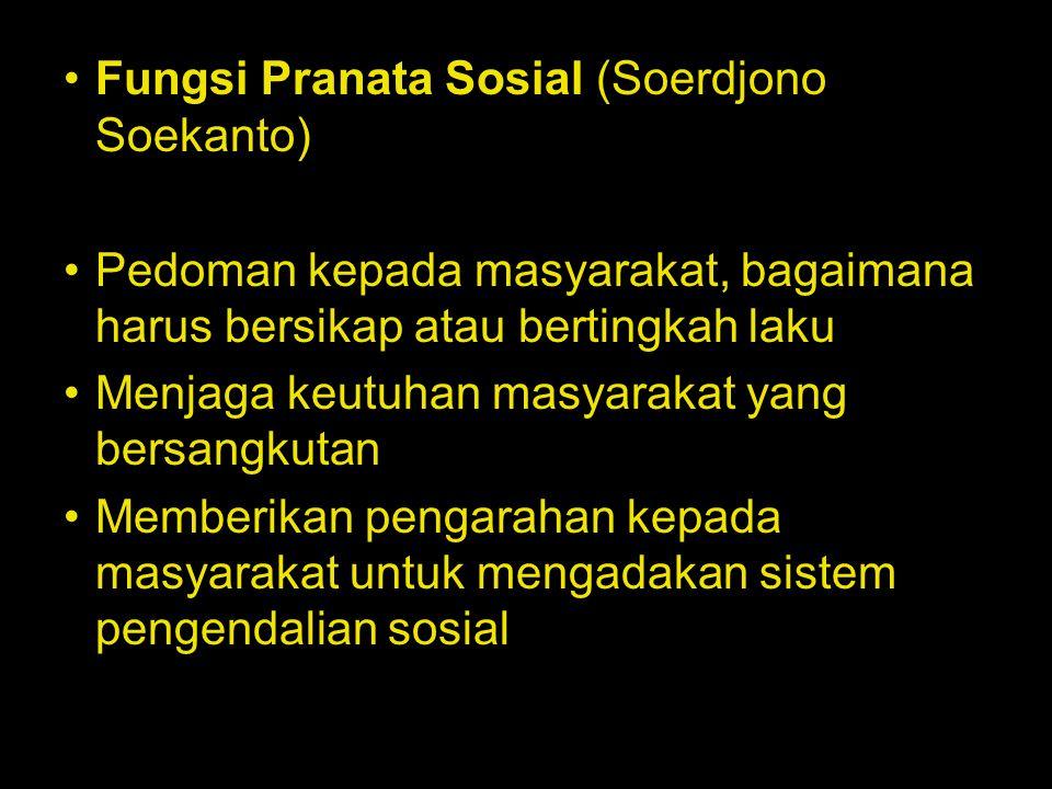Fungsi Pranata Sosial (Soerdjono Soekanto)
