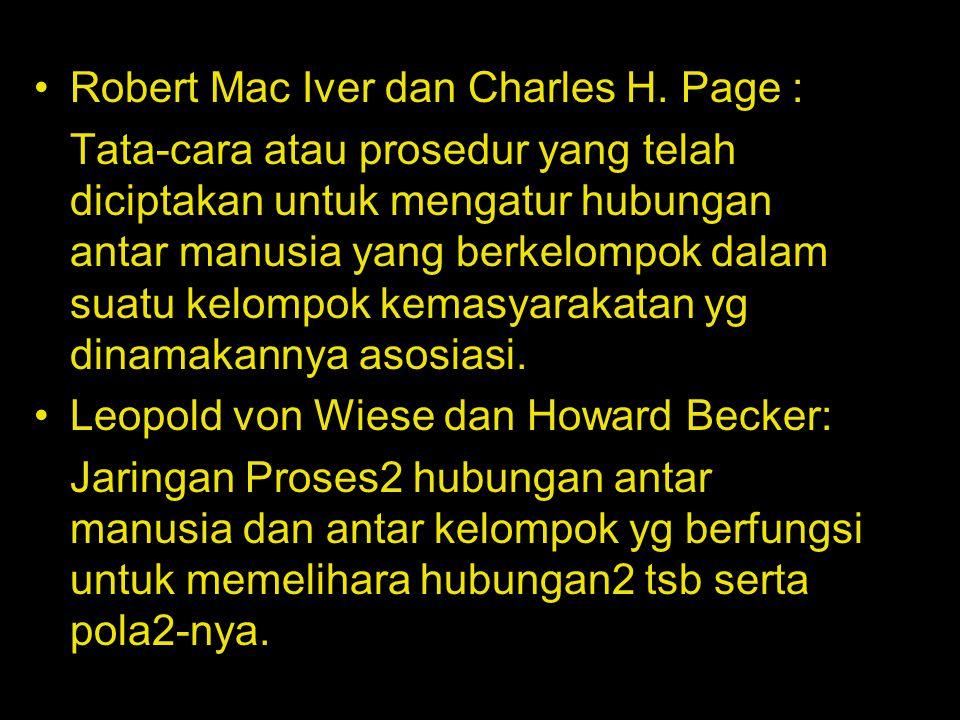 Robert Mac Iver dan Charles H. Page :