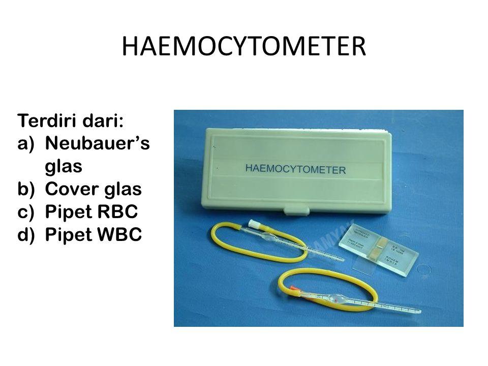 HAEMOCYTOMETER Terdiri dari: Neubauer's glas Cover glas Pipet RBC