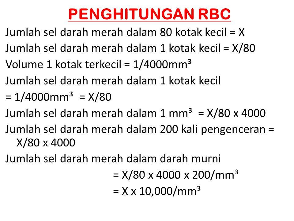 PENGHITUNGAN RBC Jumlah sel darah merah dalam 80 kotak kecil = X