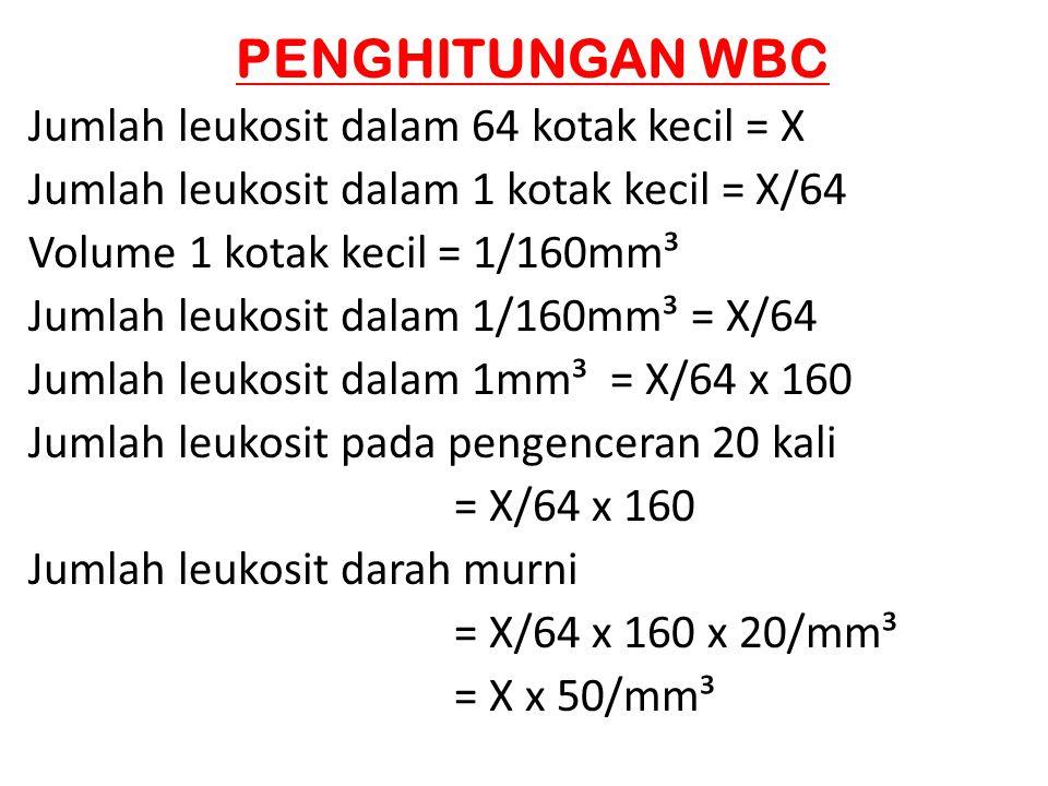 PENGHITUNGAN WBC Jumlah leukosit dalam 64 kotak kecil = X