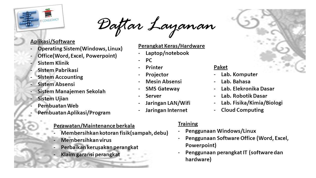 Daftar Layanan Aplikasi/Software Operating Sistem(Windows, Linux)