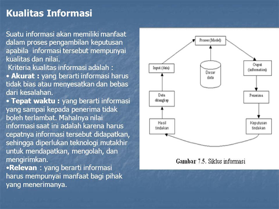 Kualitas Informasi Suatu informasi akan memiliki manfaat dalam proses pengambilan keputusan apabila informasi tersebut mempunyai kualitas dan nilai.