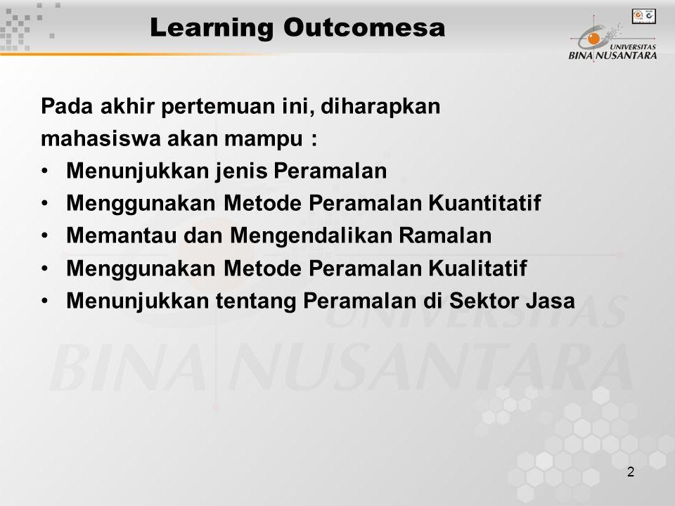 Learning Outcomesa Pada akhir pertemuan ini, diharapkan