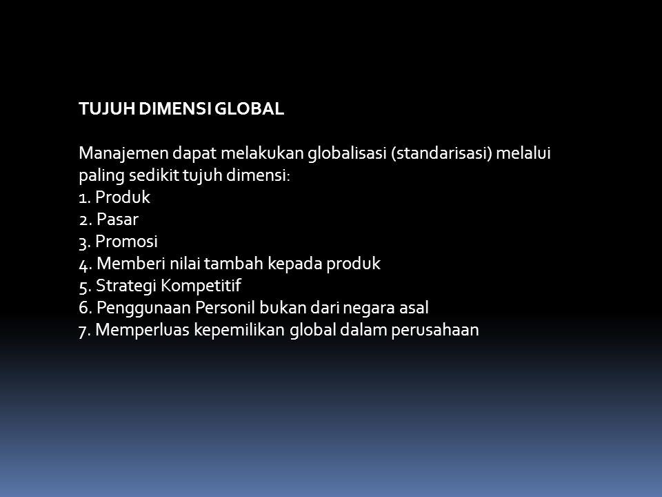 TUJUH DIMENSI GLOBAL Manajemen dapat melakukan globalisasi (standarisasi) melalui paling sedikit tujuh dimensi: