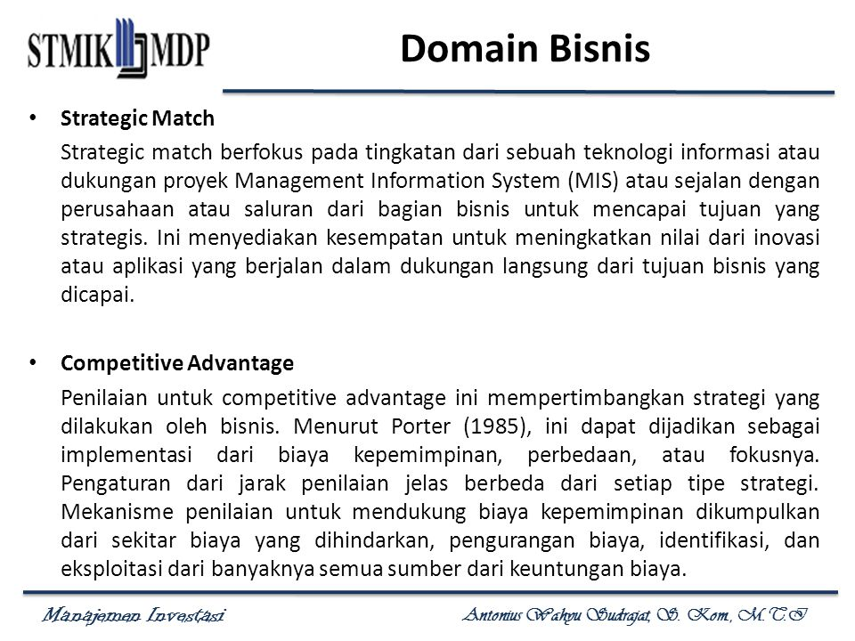 Domain Bisnis Strategic Match