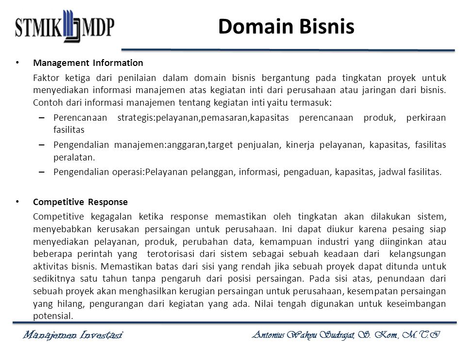 Domain Bisnis Management Information