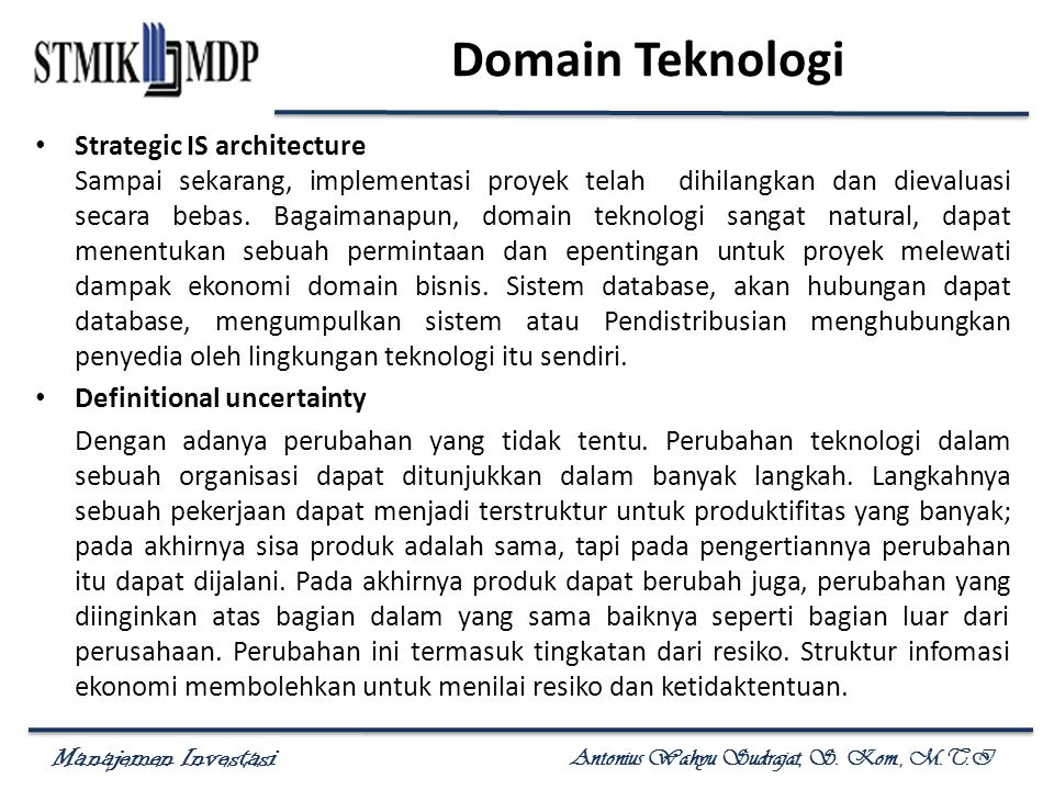 Domain Teknologi Strategic IS architecture
