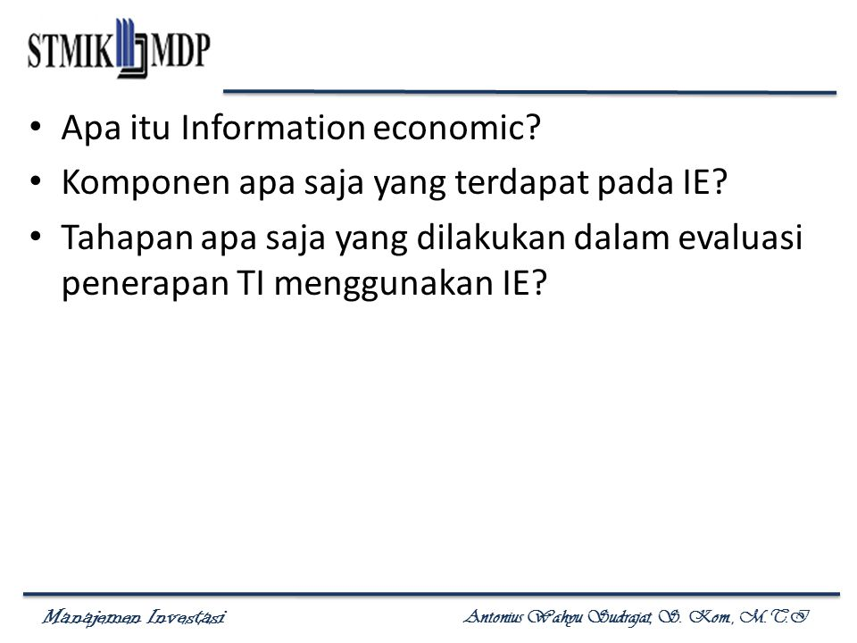 Apa itu Information economic
