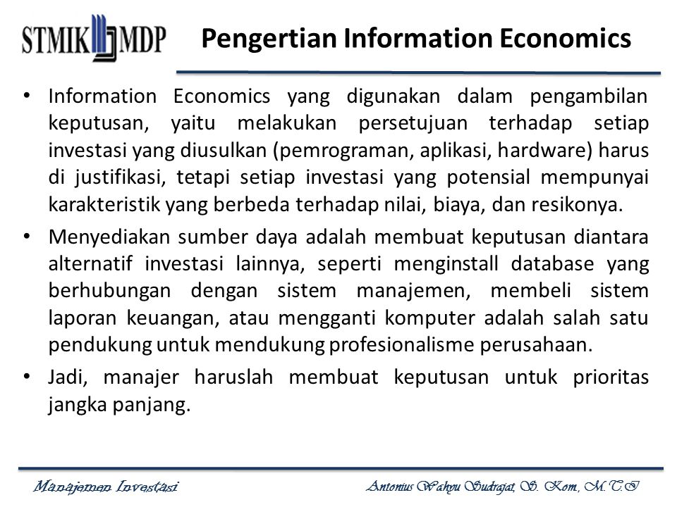Pengertian Information Economics