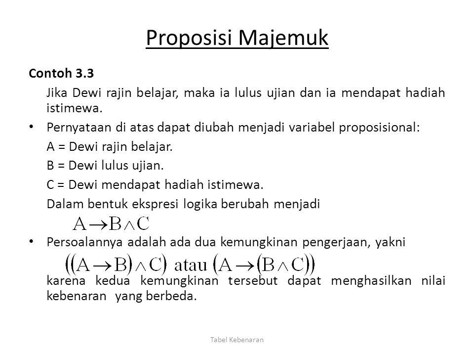Proposisi Majemuk Contoh 3.3