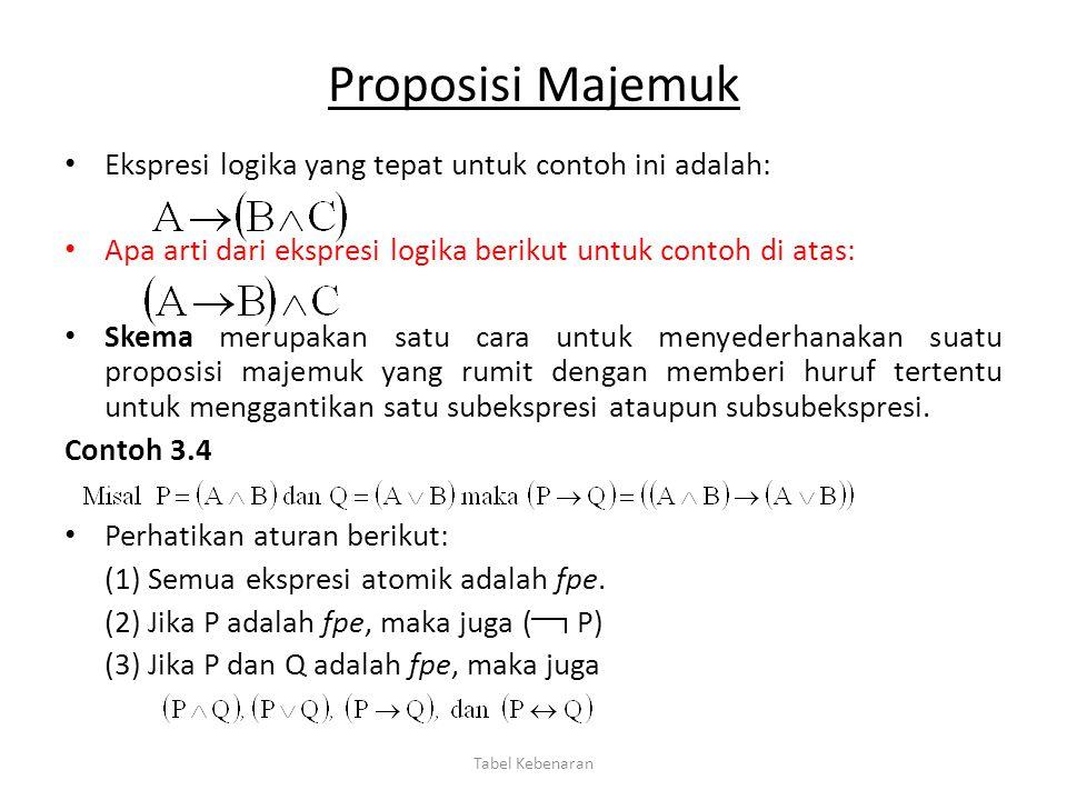 Proposisi Majemuk Ekspresi logika yang tepat untuk contoh ini adalah: