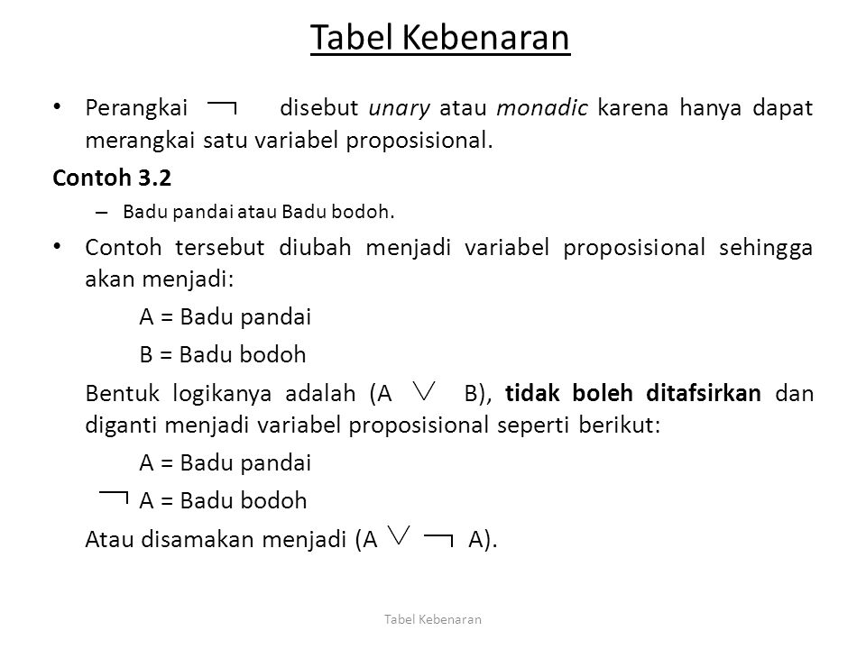 Tabel Kebenaran Perangkai disebut unary atau monadic karena hanya dapat merangkai satu variabel proposisional.