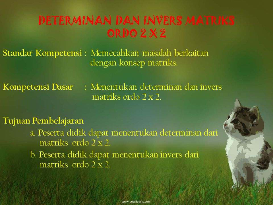 DETERMINAN DAN INVERS MATRIKS ORDO 2 X 2