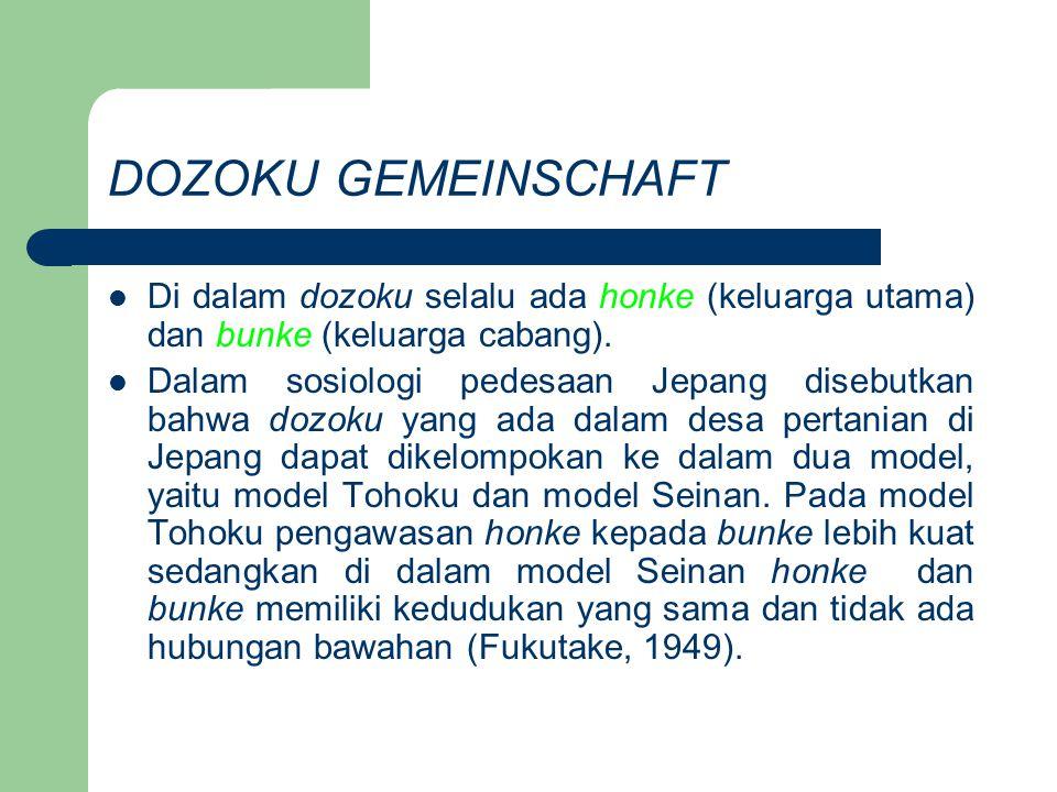 DOZOKU GEMEINSCHAFT Di dalam dozoku selalu ada honke (keluarga utama) dan bunke (keluarga cabang).