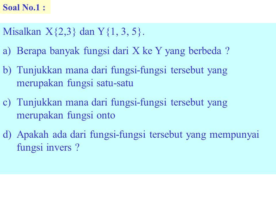 Berapa banyak fungsi dari X ke Y yang berbeda