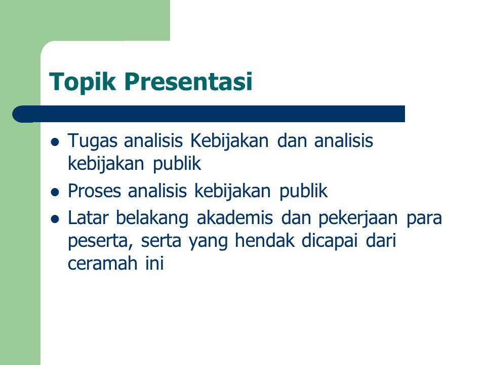 Topik Presentasi Tugas analisis Kebijakan dan analisis kebijakan publik. Proses analisis kebijakan publik.