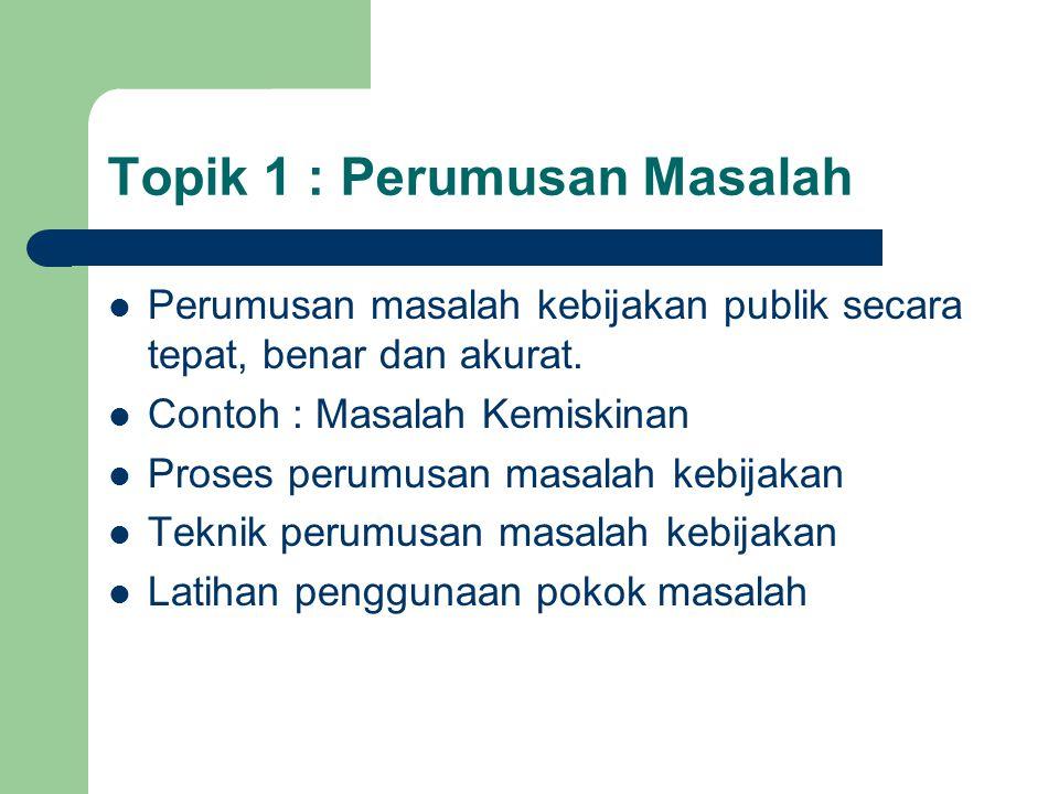 Topik 1 : Perumusan Masalah