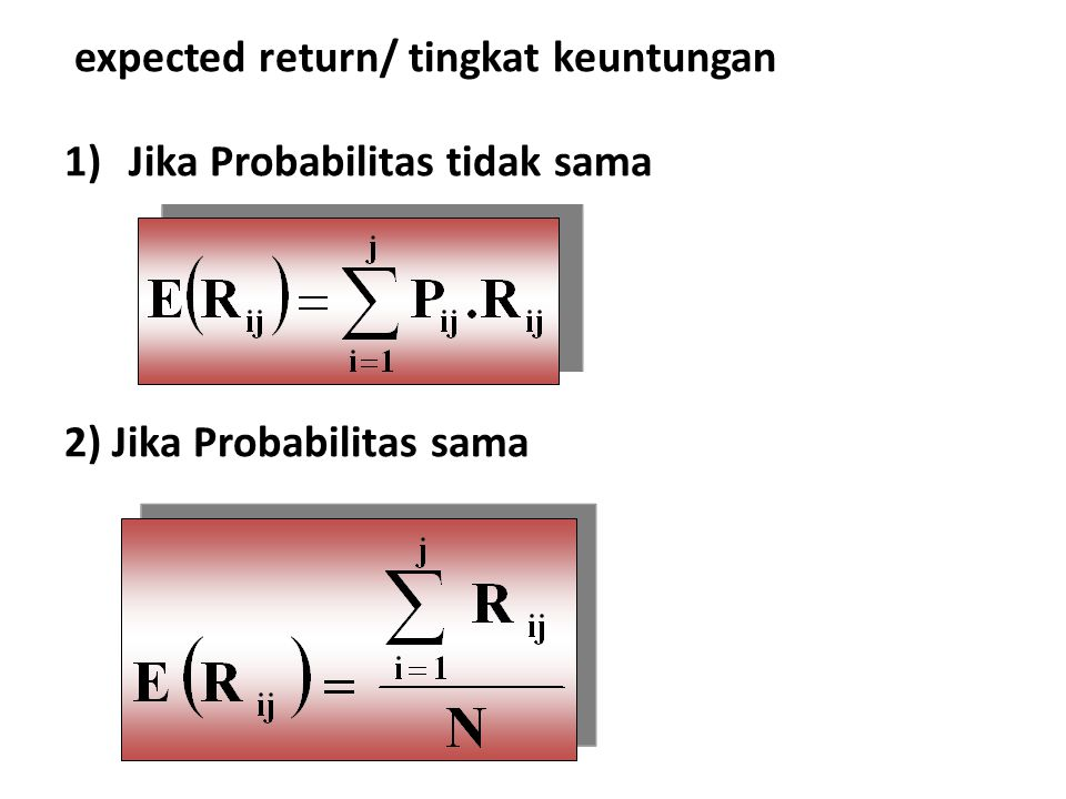expected return/ tingkat keuntungan