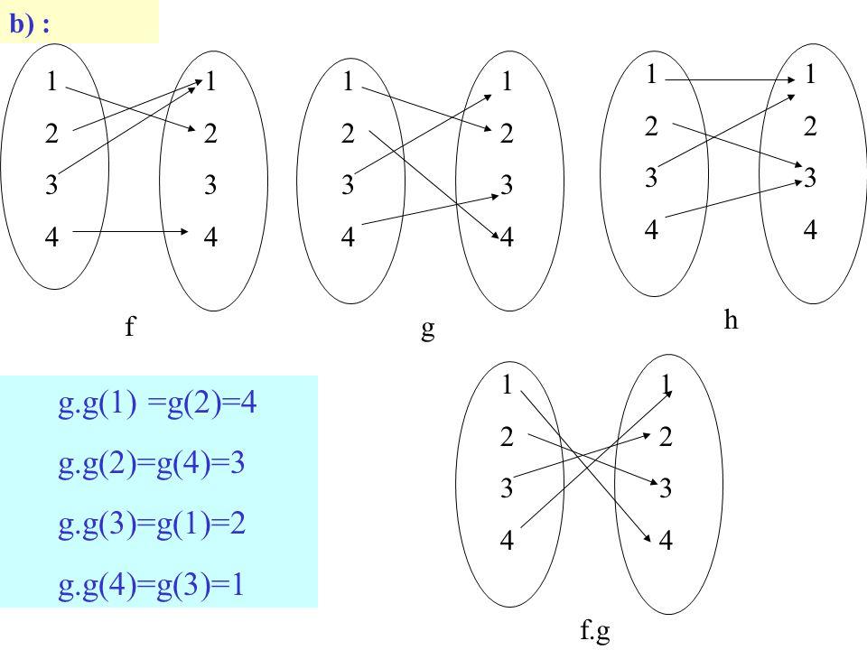 g.g(1) =g(2)=4 g.g(2)=g(4)=3 g.g(3)=g(1)=2 g.g(4)=g(3)=1 b) : 1 2 3 4