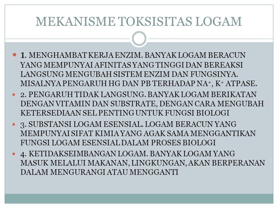 MEKANISME TOKSISITAS LOGAM