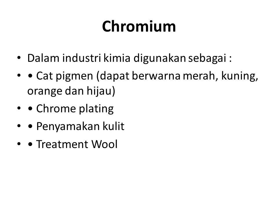 Chromium Dalam industri kimia digunakan sebagai :