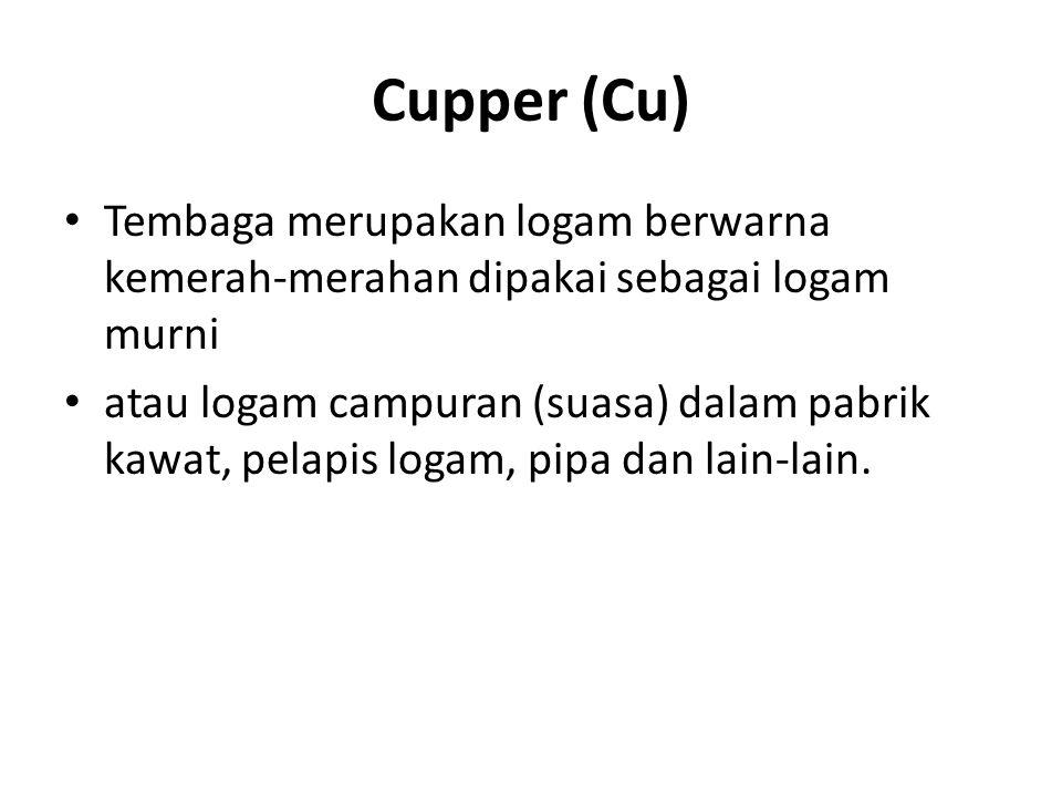 Cupper (Cu) Tembaga merupakan logam berwarna kemerah-merahan dipakai sebagai logam murni.