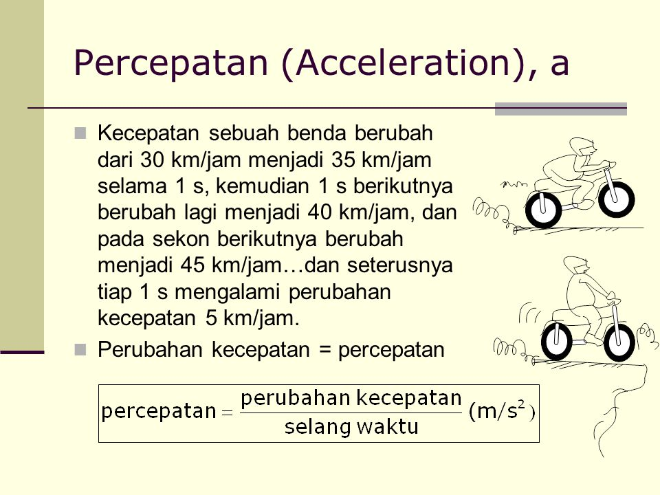 Percepatan (Acceleration), a