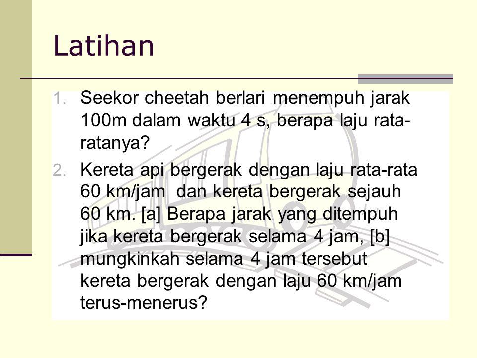 Latihan Seekor cheetah berlari menempuh jarak 100m dalam waktu 4 s, berapa laju rata-ratanya