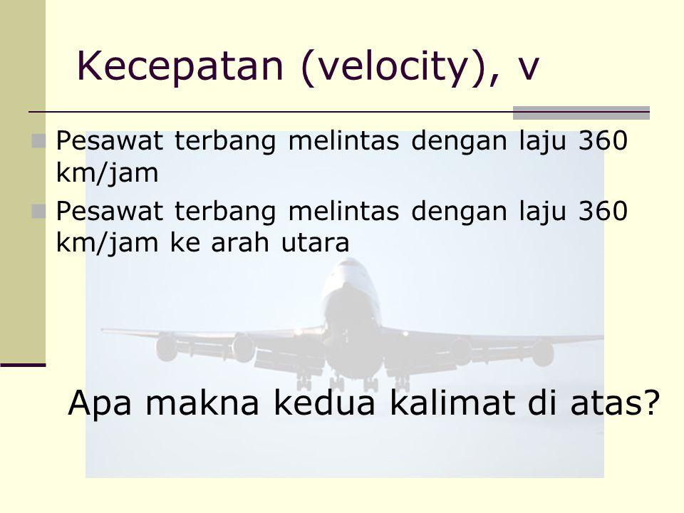 Kecepatan (velocity), v