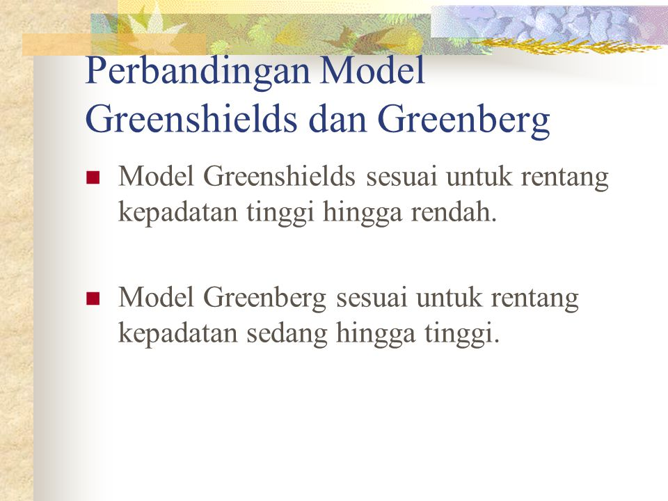 Perbandingan Model Greenshields dan Greenberg
