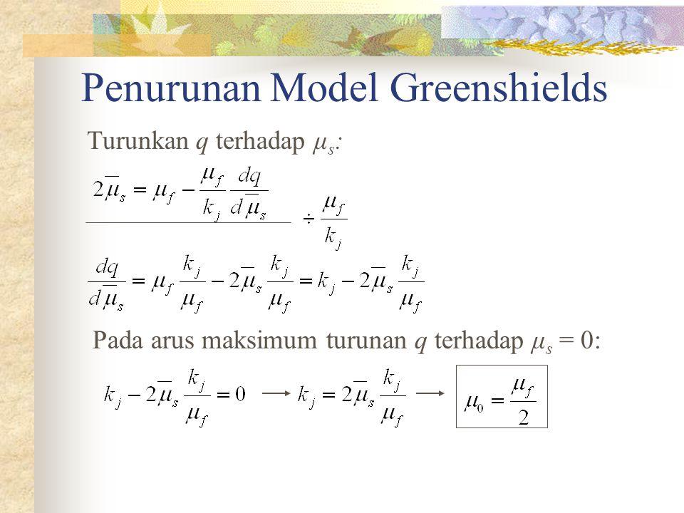 Penurunan Model Greenshields