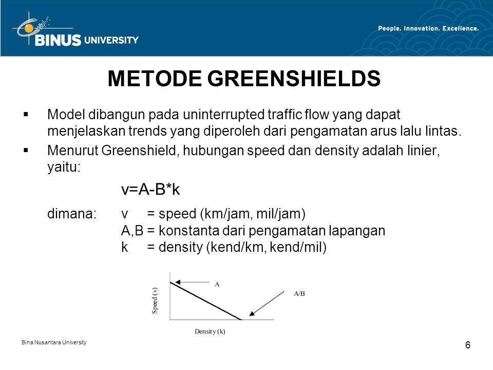 METODE GREENSHIELDS v=A-B*k