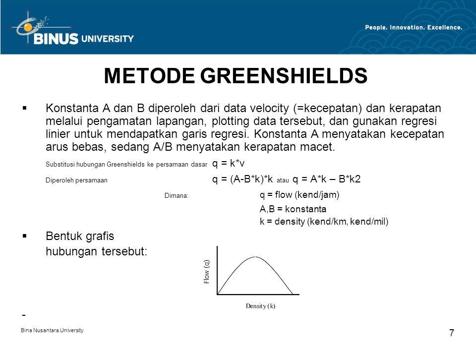 METODE GREENSHIELDS
