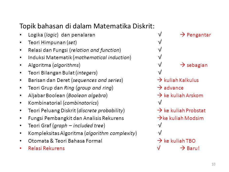Topik bahasan di dalam Matematika Diskrit: