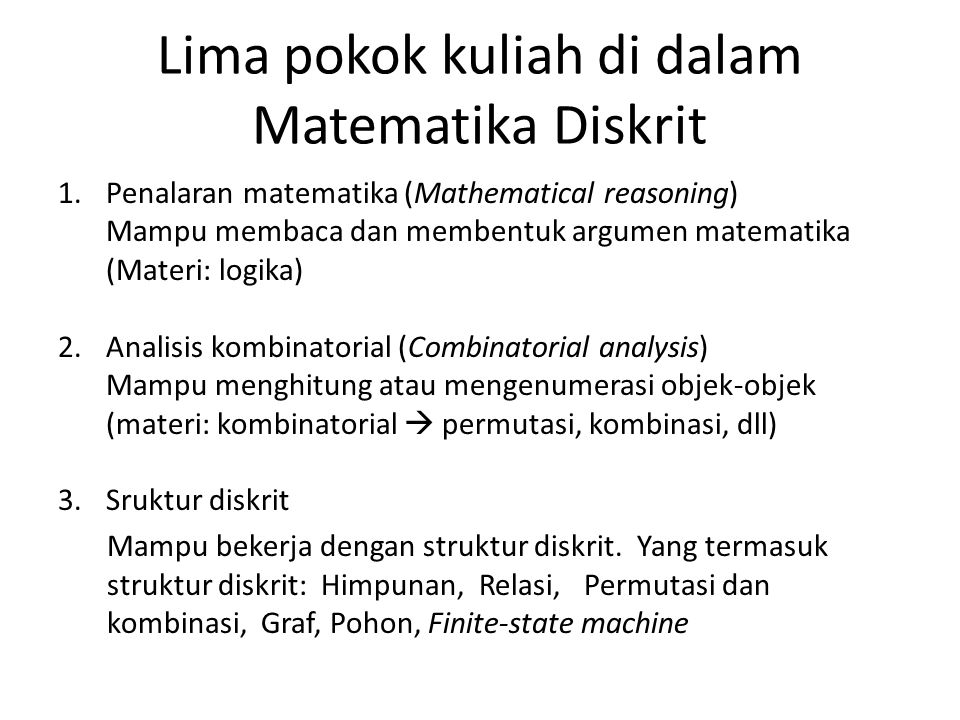 Lima pokok kuliah di dalam Matematika Diskrit