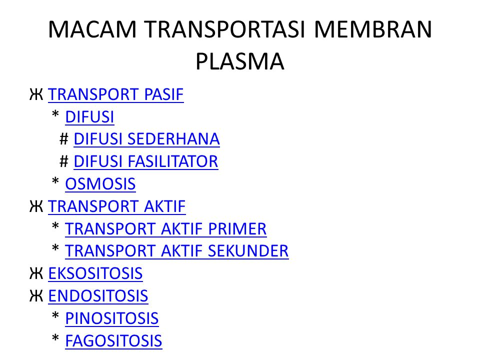 MACAM TRANSPORTASI MEMBRAN PLASMA